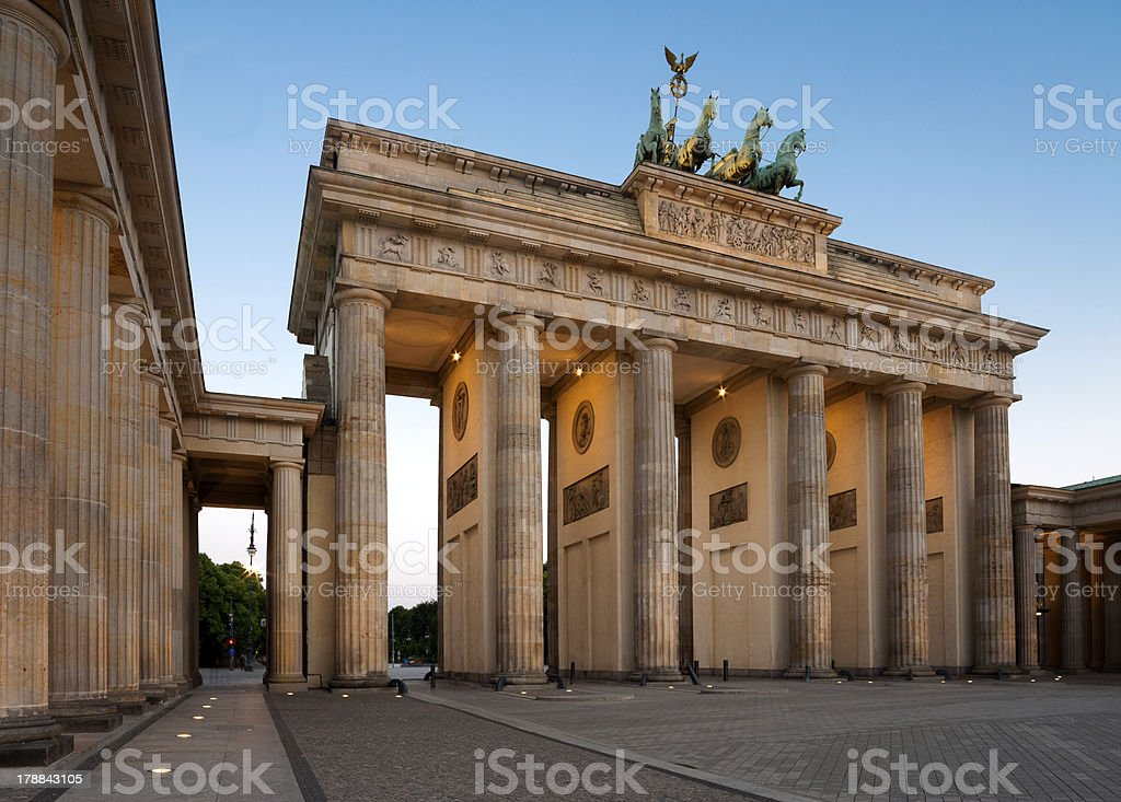 Berlin, Brandenburg Gate at dawn stock photo