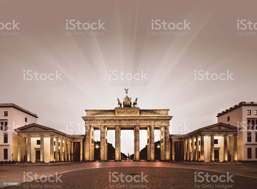 Berlin, Brandenburg Gate at night stock photo