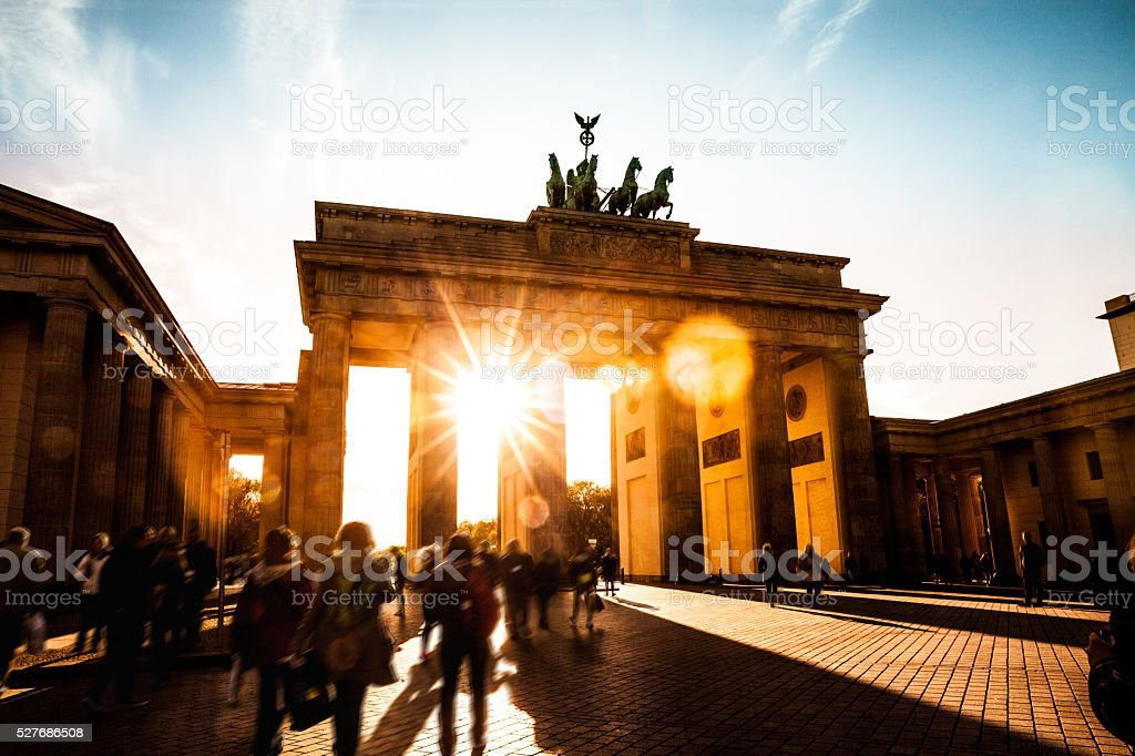 Berlin - Brandenburg Gate at sunset stock photo