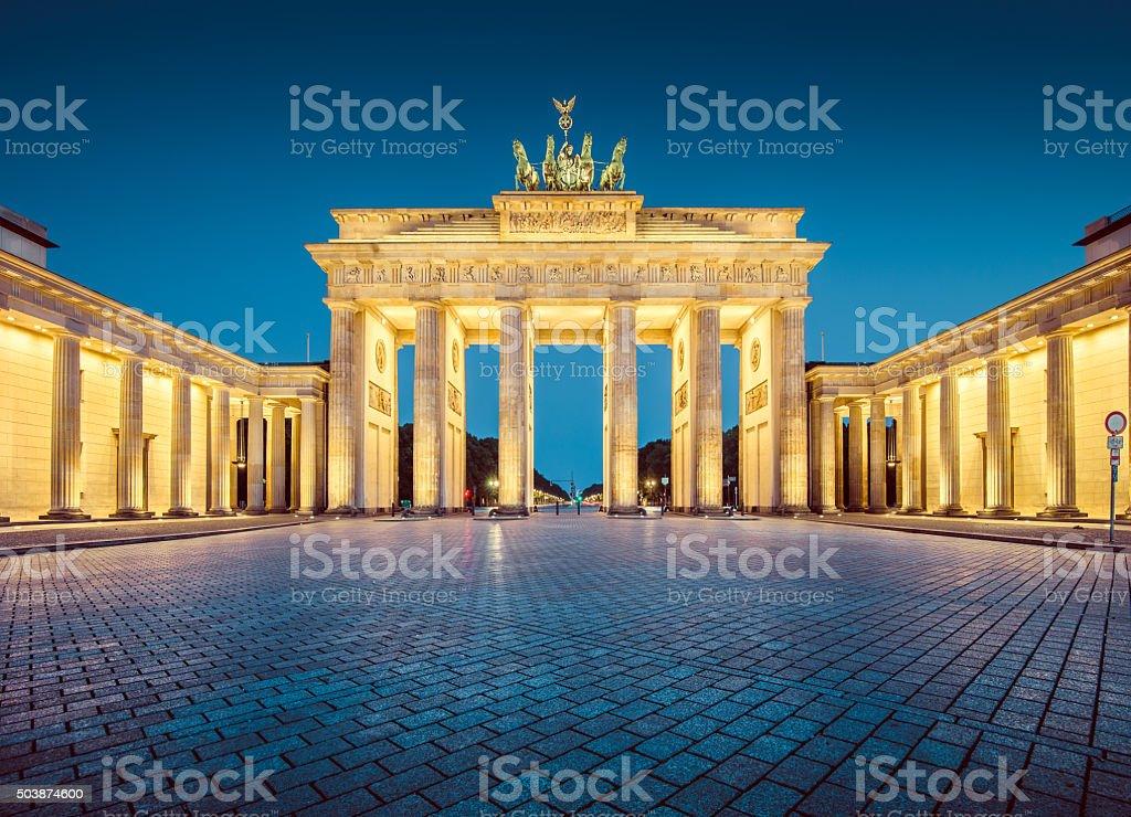 Berlin Brandenburg Gate in twilight, Germany stock photo