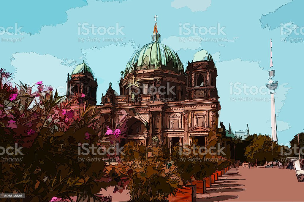 berlin cathedral and tv tower, berlin germany,  landmark illustr stock photo