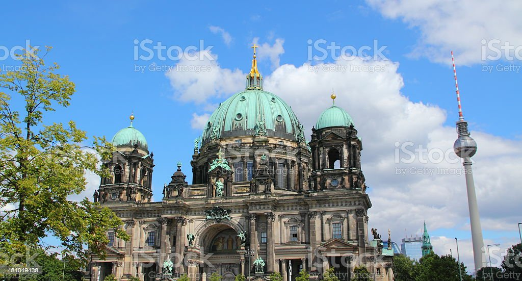 Berlin Cathedral and tv tower stock photo