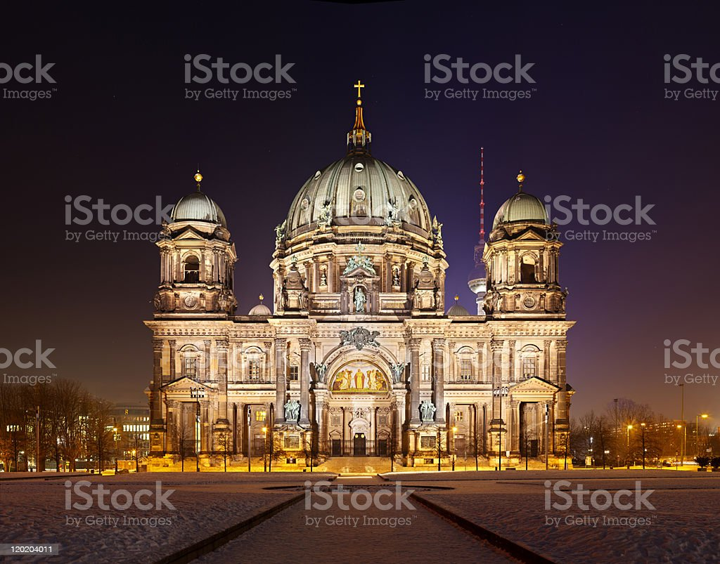 Berlin Cathedral At Night royalty-free stock photo