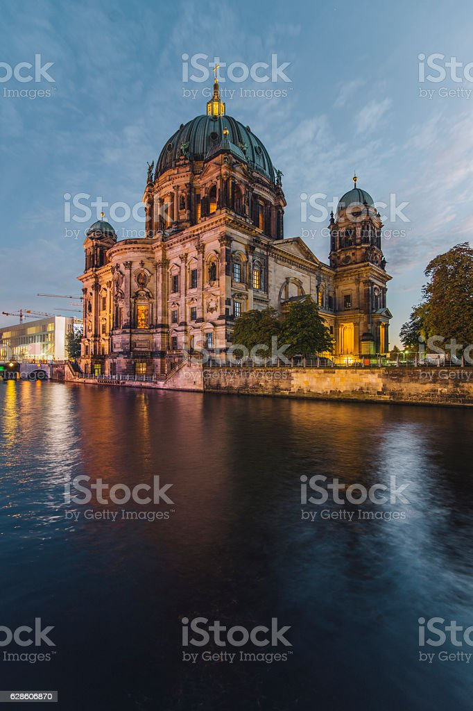 Berlin Cathedral at night stock photo