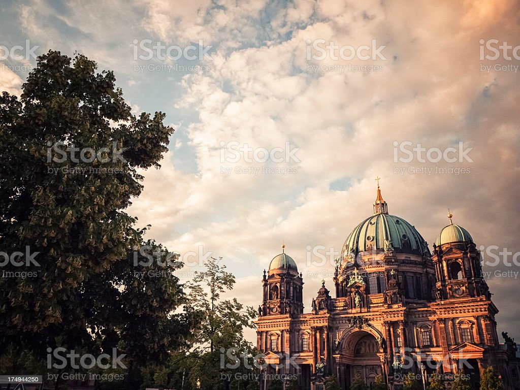 Berlin Cathedral at sunset stock photo
