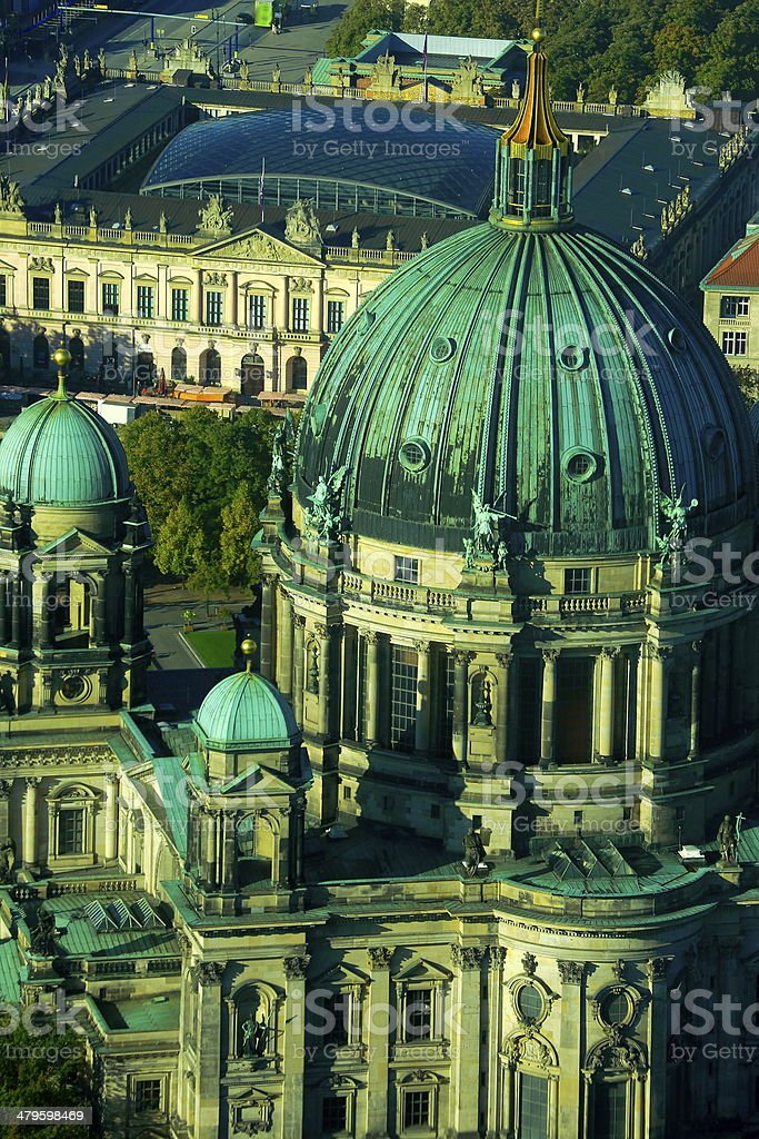 Berlin cathedral from Fernsehturn tv tower, Germany stock photo