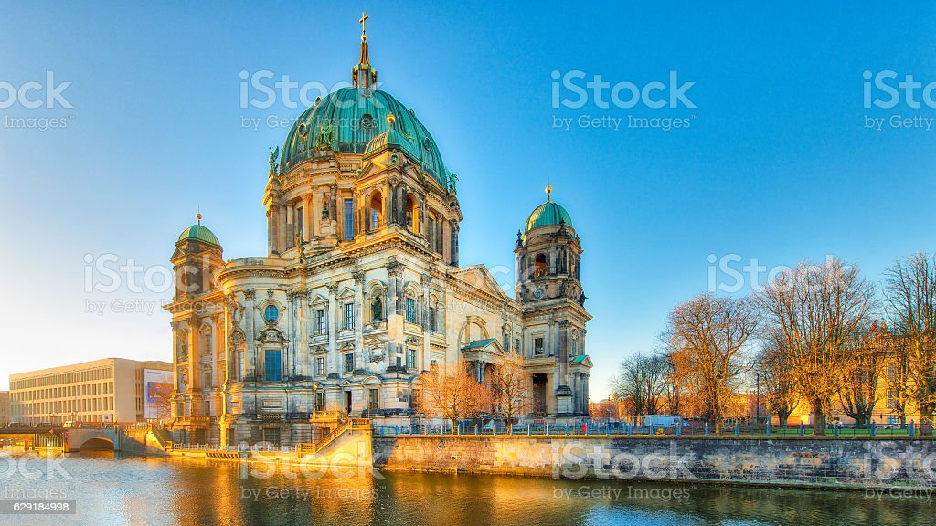 Berlin Cathedral from the river spree stock photo