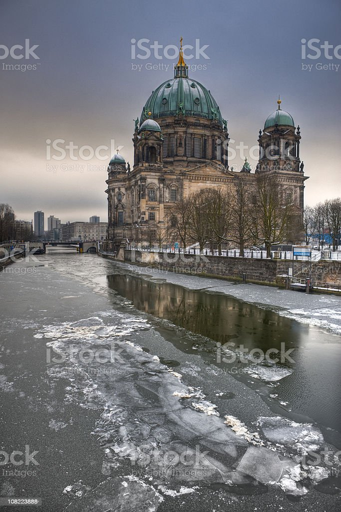Berliner Dom (Berlin Cathedral) HDR in winter stock photo