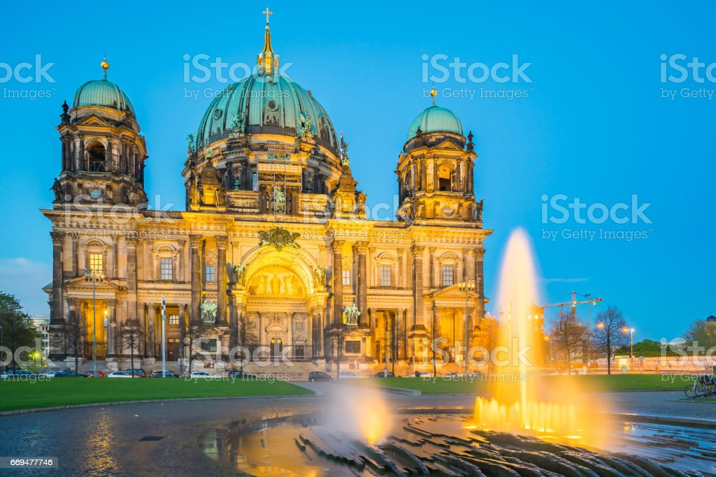 Berlin Cathedral in Berlin, Germany at night stock photo