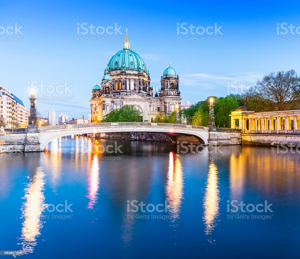 Berlin Cathedral, the Berliner Dom at twilight, Germany stock photo