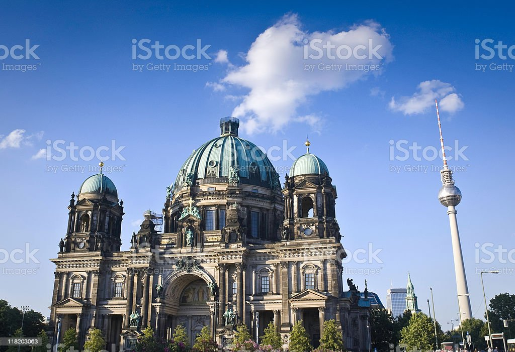 Berliner Dom & Fernsehturm television tower stock photo