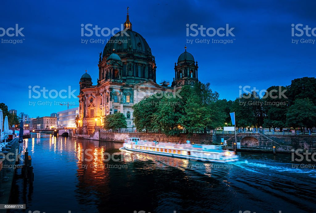 Berlin Cathedral with excursion boat on Spree river, Berlin, Ger stock photo