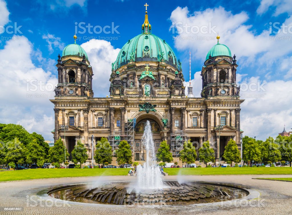Berlin Cathedral with fountain at Lustgarten park, Germany stock photo