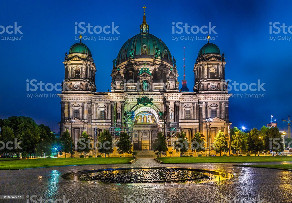 Berlin Cathedral with TV tower at night, Germany stock photo