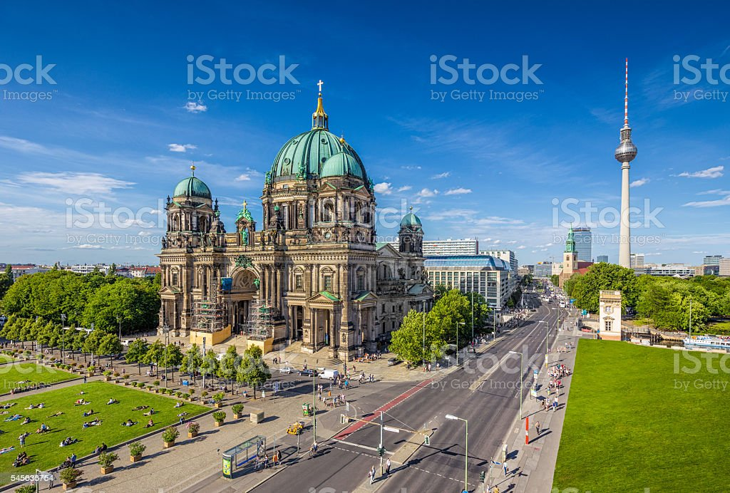 Berlin Cathedral with TV tower in summer, Berlin, Germany stock photo