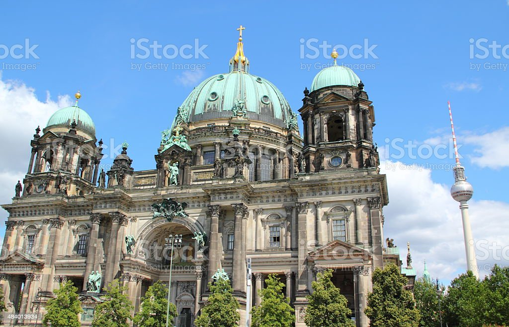 Berlin Cathedral with tv tower stock photo