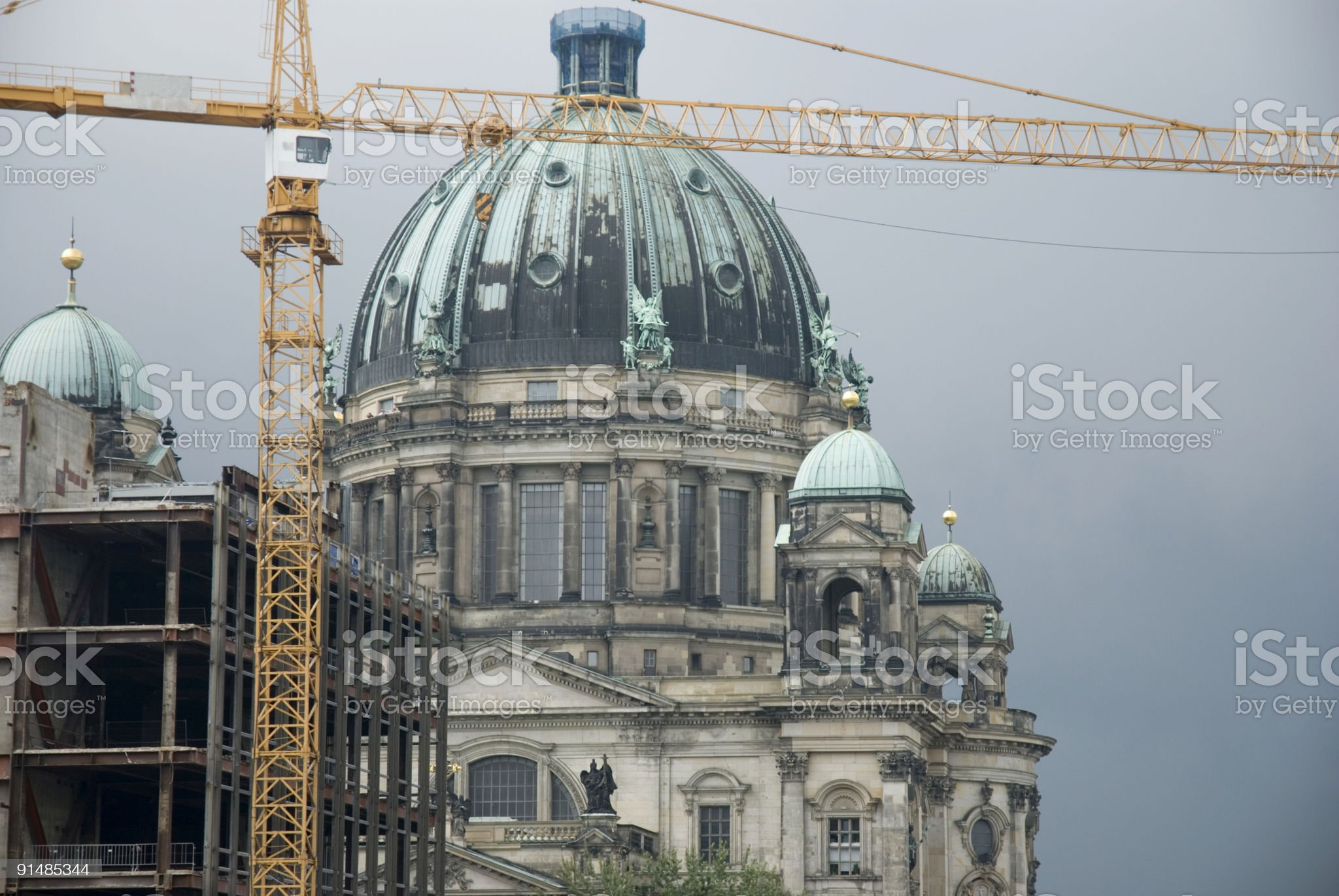 Berlin Cathedral/Berliner Dom with crane royalty-free stock photo