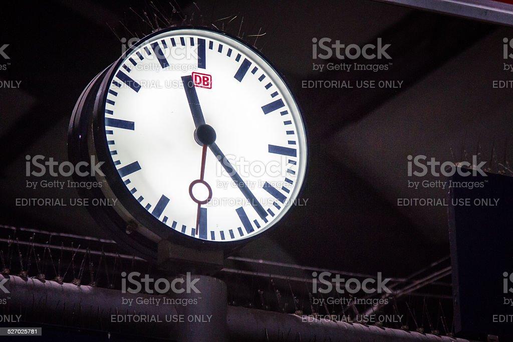 Berlin Central Station Clock with logo of DB Deutsche Bahn stock photo