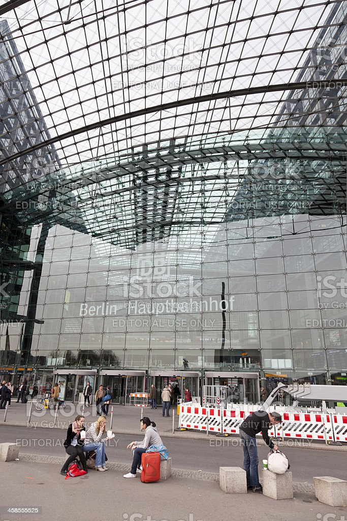 Berlin Central Station with logo of DB Deutsche Bahn stock photo