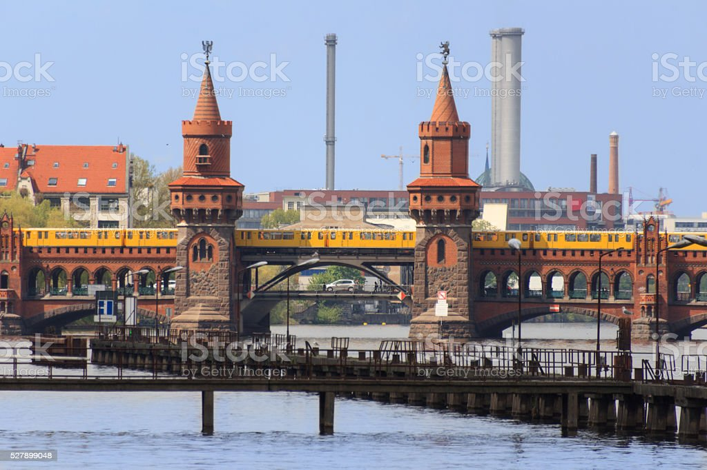 Berlin city skyline - river and bridge in Kreuzberg stock photo
