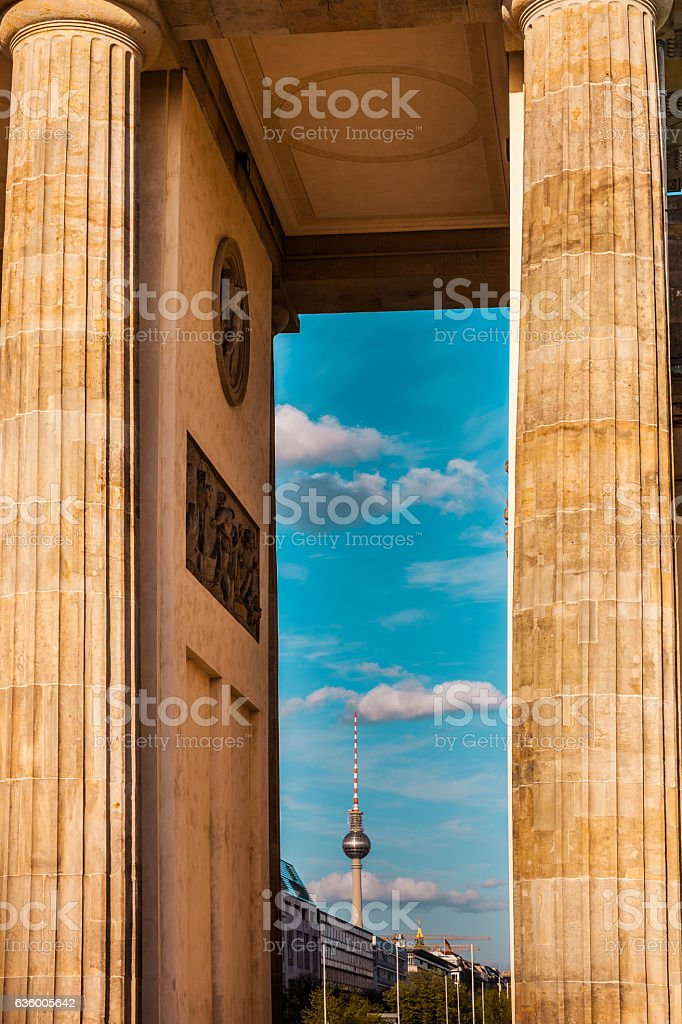 Berlin cityscape looking through Brandenburg Gate stock photo