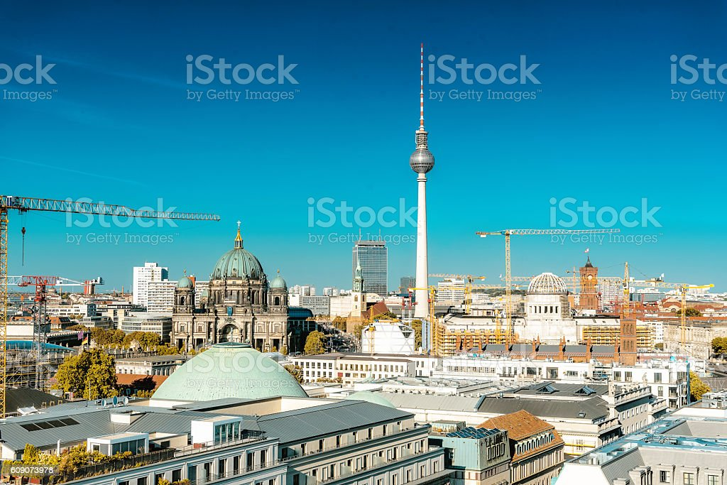 berlin cityscape with television tower and cathedral and crans stock photo