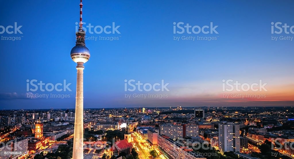 berlin cityscape with television tower at blue hour stock photo