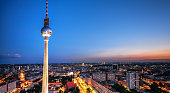 berlin cityscape with television tower at blue hour