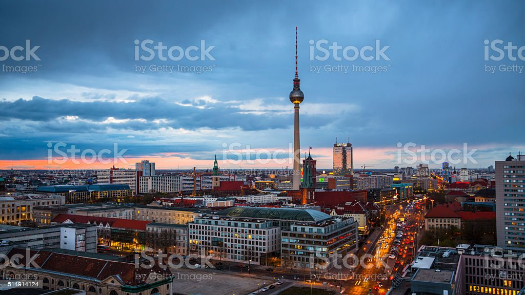 Berlin Cityscape with TV Tower , Germany stock photo