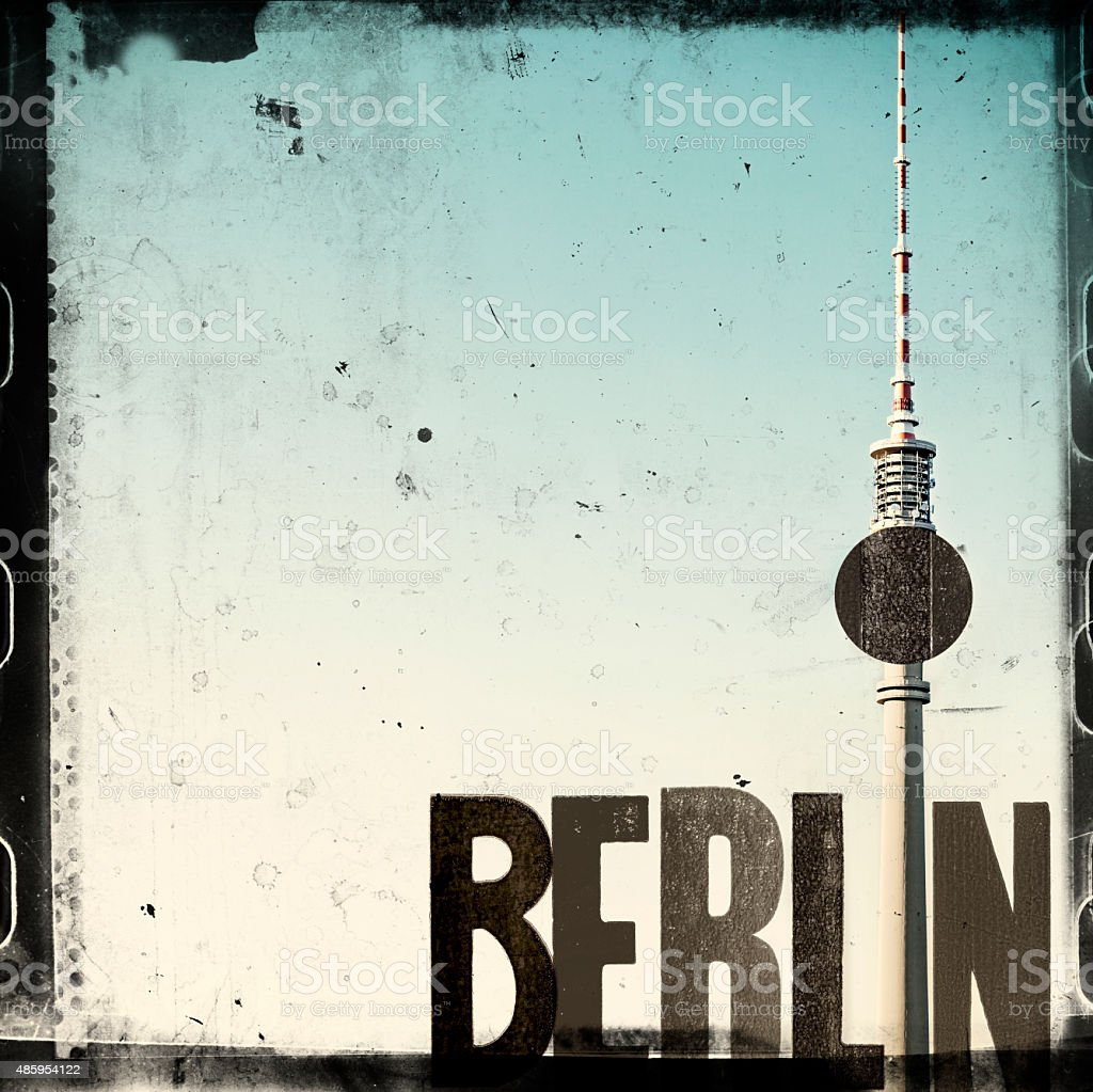 Berlin Collage With Television Tower – Grunge Style vector art illustration