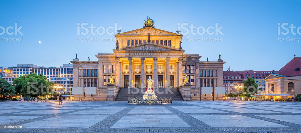 Berlin Concert Hall at Gendarmenmarkt square panorama at dusk, Berlin stock photo