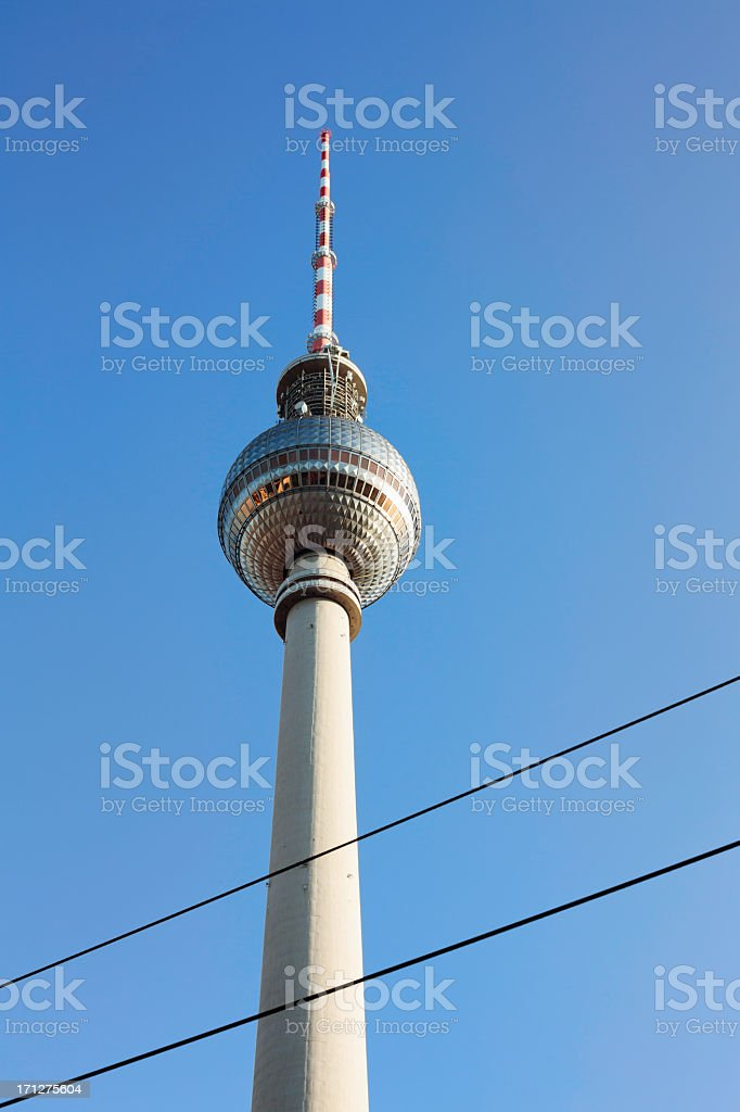 Berlin Fernsehturm Television Tower with tramway cables in the...