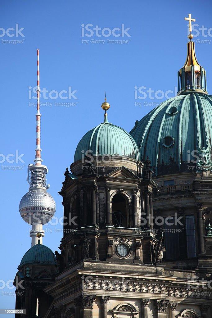 Berlin Fernsehturm with Dom stock photo