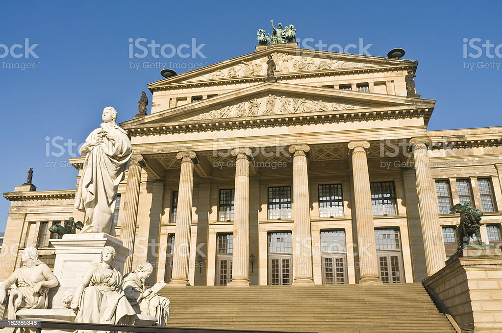 Berlin Gendarmenmarkt Konzerthaus historic collonade steps statu stock photo