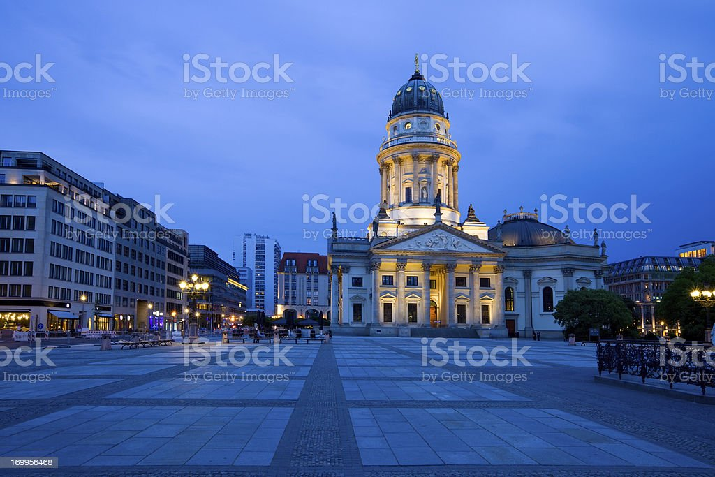 Berlin Germany Gendarmenmarkt with the Neue Kirche or German Cathedral stock photo