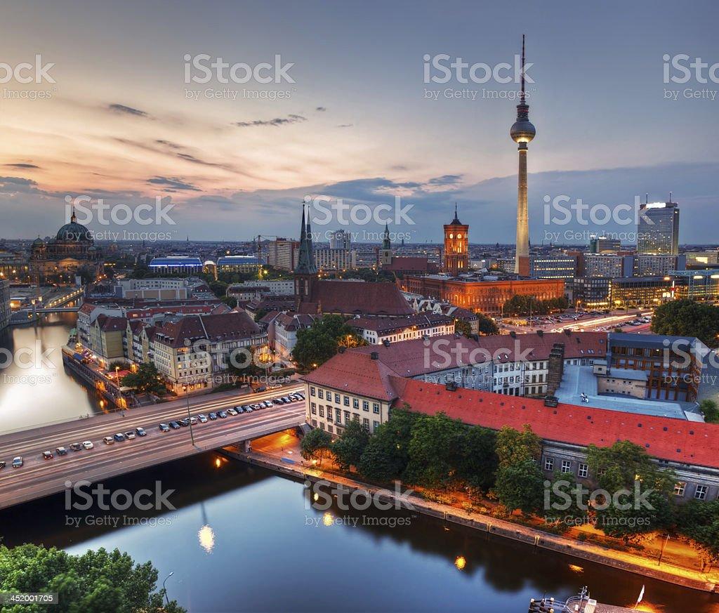 Berlin, Germany major landmarks at sunset royalty-free stock photo