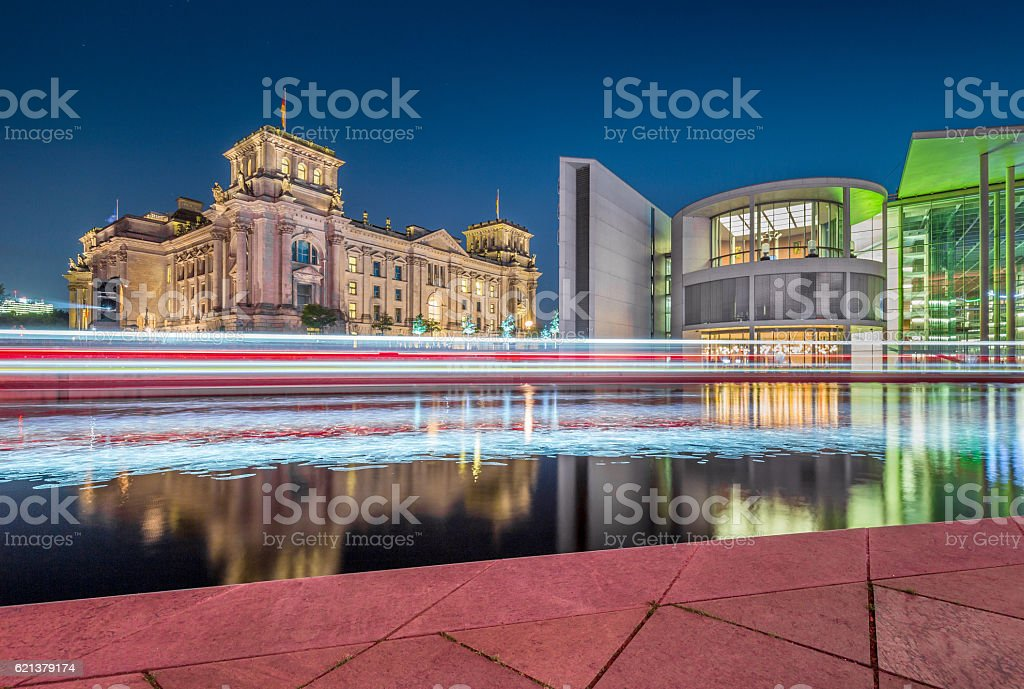 Berlin government district with Reichstag and Spree river at night stock photo