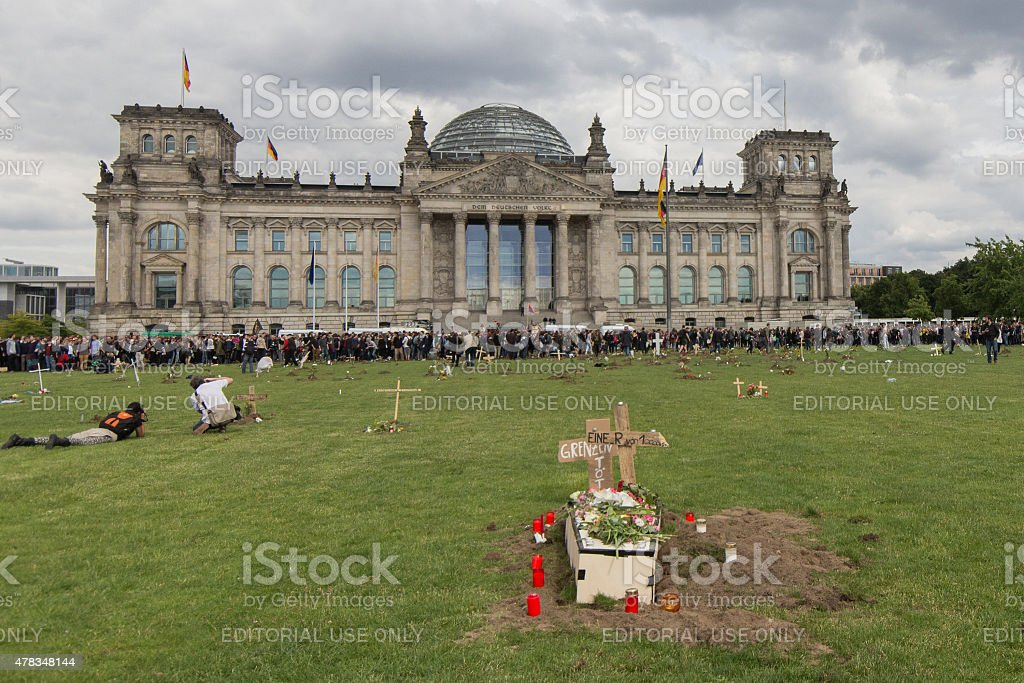 Berlin: Graves in front of the german parliament. stock photo