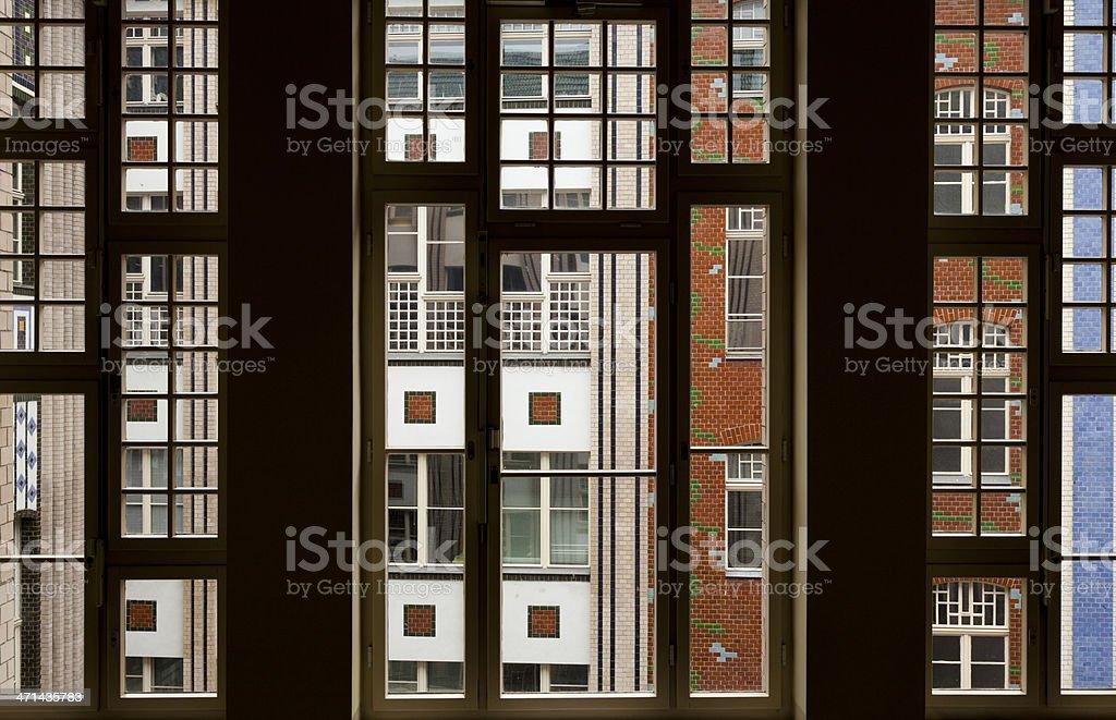 Berlin Hackesche H?fe - Jugendstil neoclassic facade through window stock photo