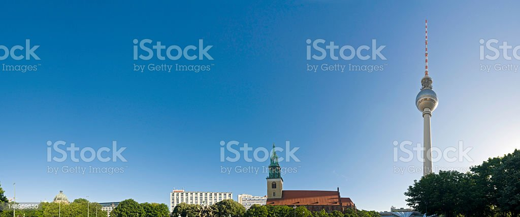 Berlin iconic spires and domes stock photo