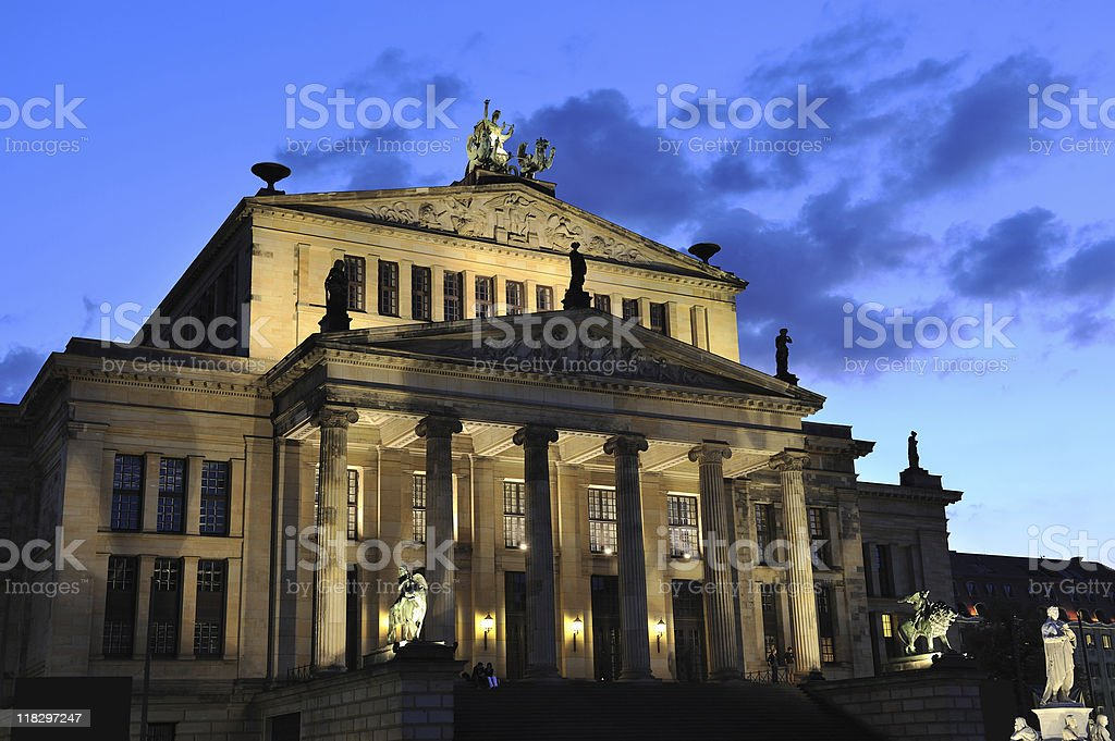 Berlin Illuminated Theatre at Gendarme Market Twilight Clouds royalty-free stock photo