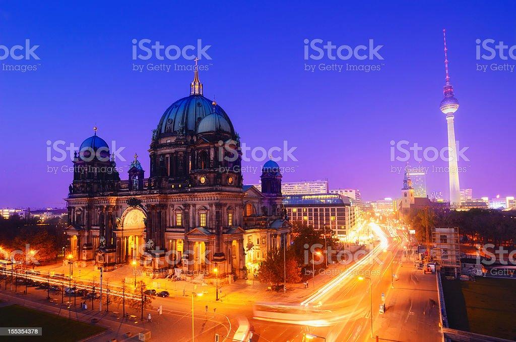 Berlin Landmarks at Night stock photo