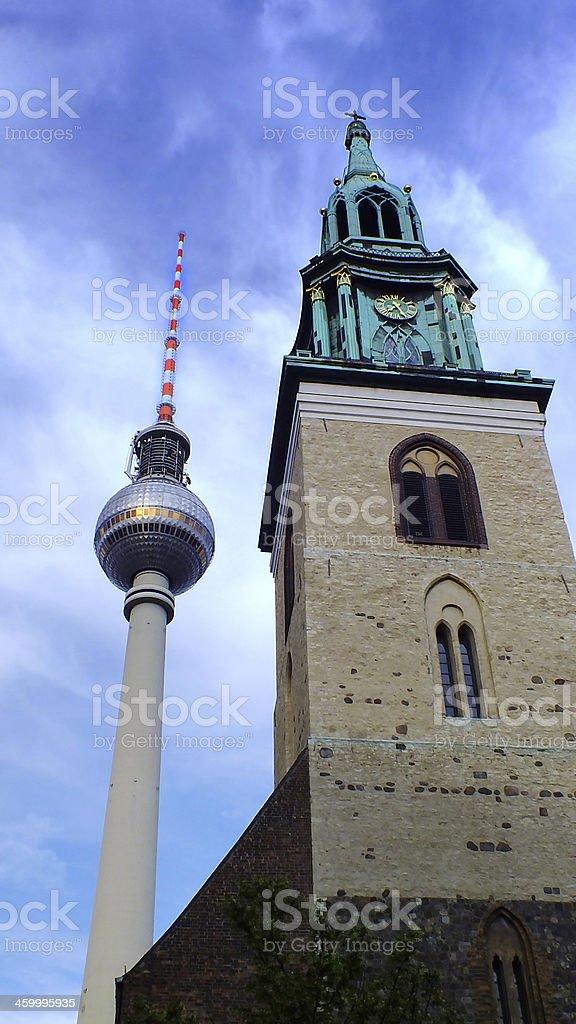 Berlin landmarks in blue sky's front royalty-free stock photo