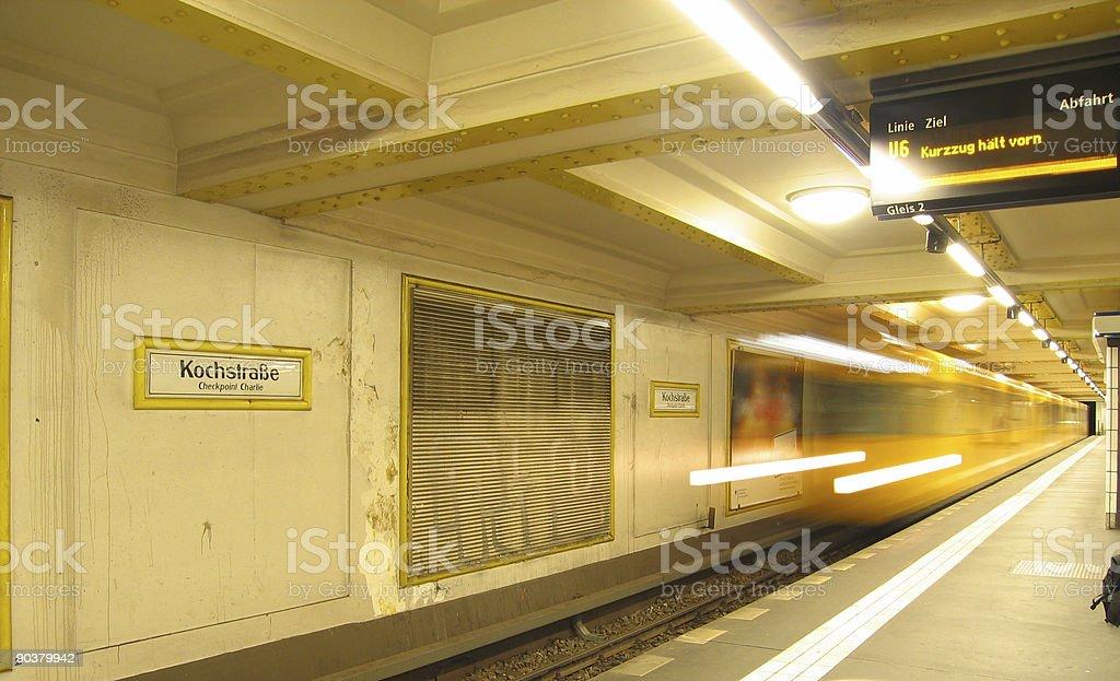 Berlin Metro Rushing into Station royalty-free stock photo
