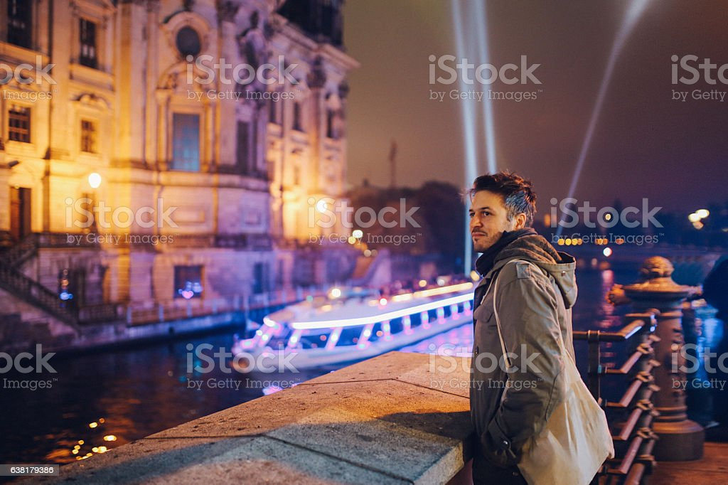 Berlin night lights stock photo