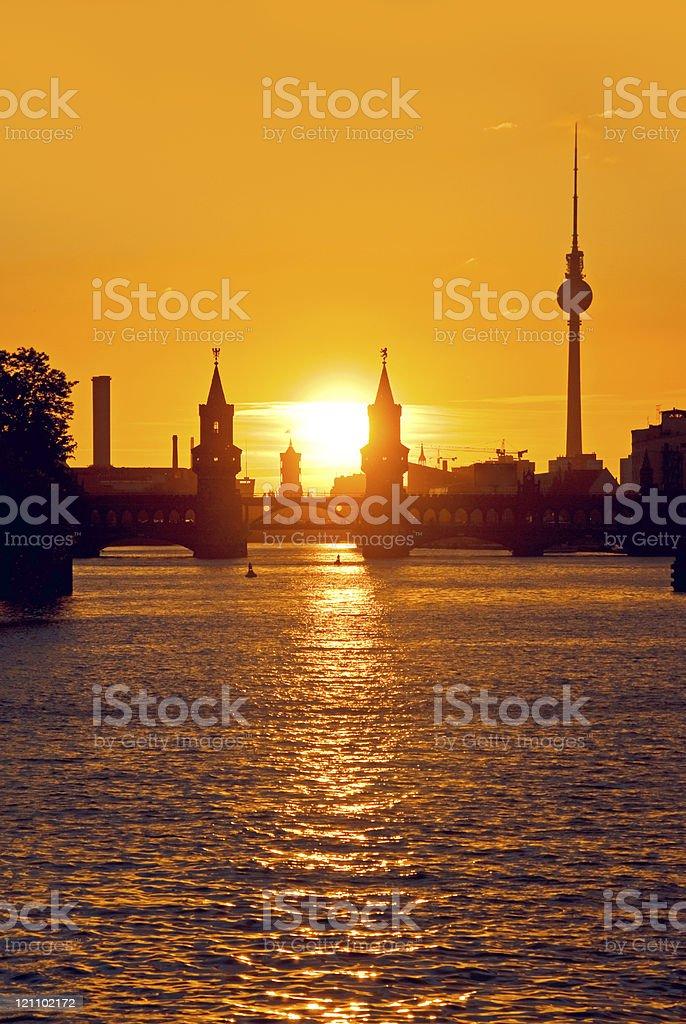 berlin oberbaumbruecke sunset royalty-free stock photo