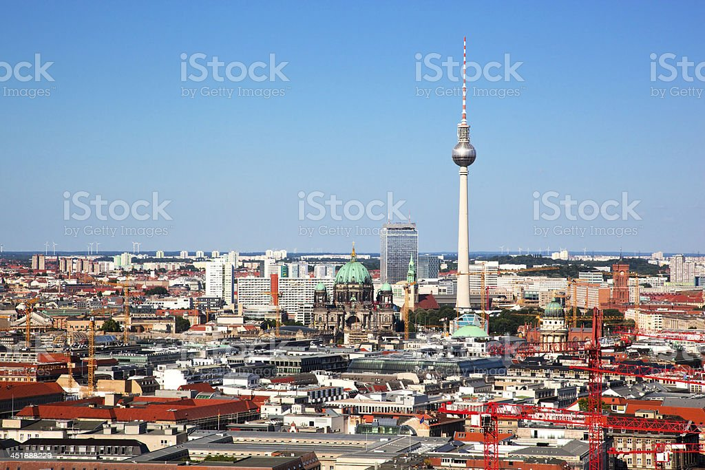 Berlin panorama. Cathedral and TV Tower royalty-free stock photo