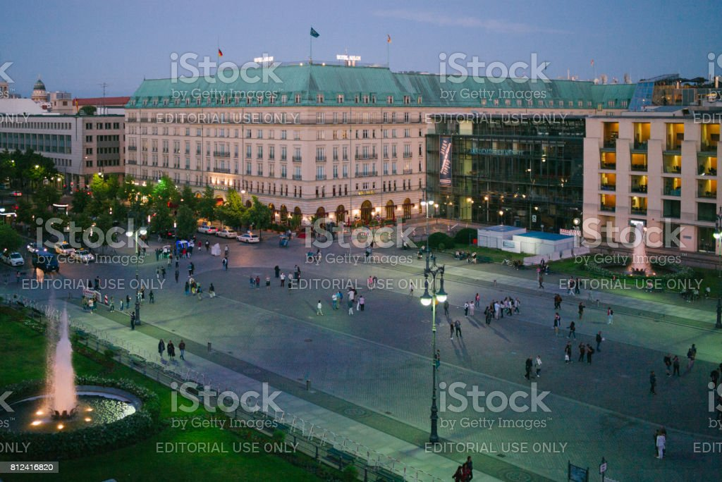 Berlin: Pariser Platz with the Hotel Adlon at twilight stock photo