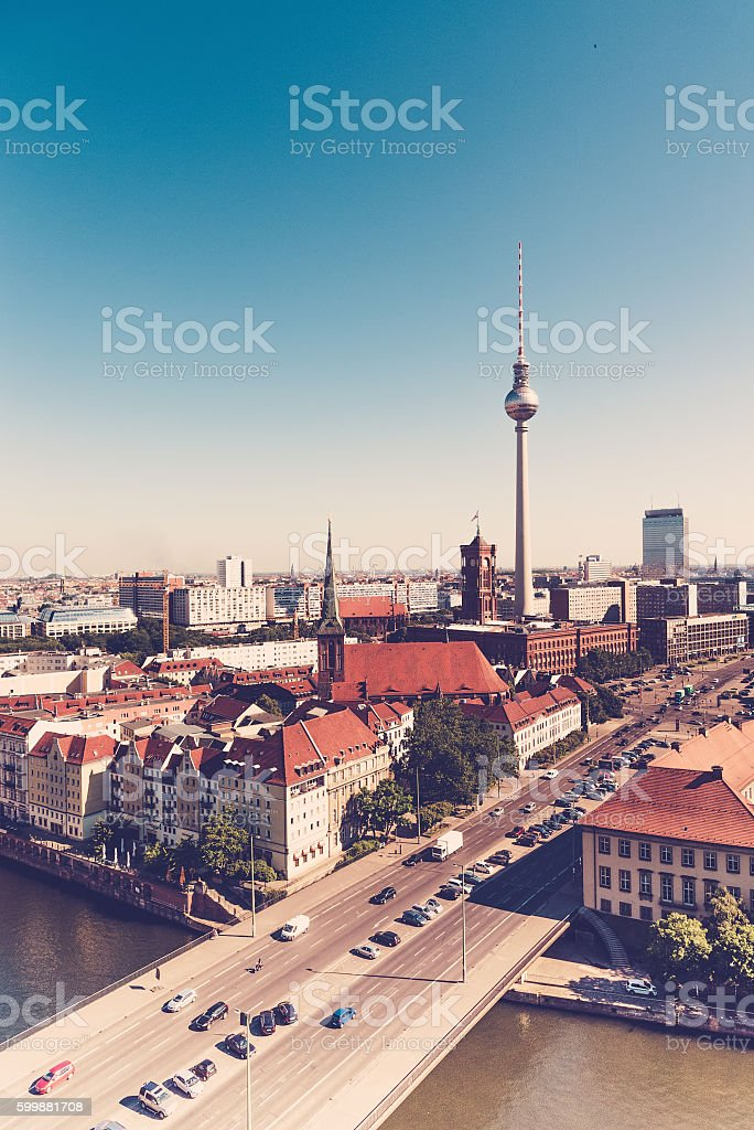 berlin poster with television tower and view to east stock photo
