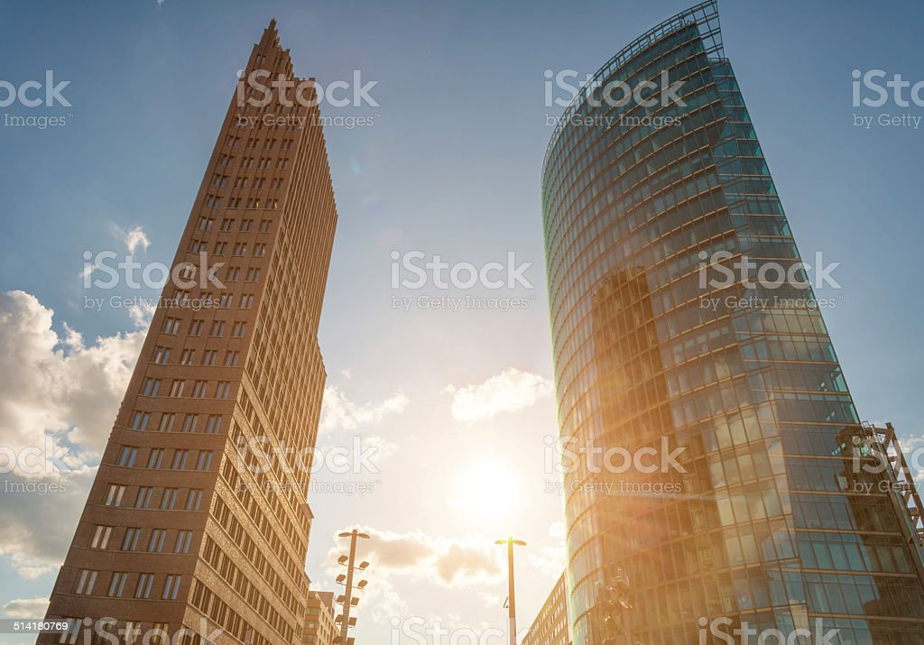 Berlin Potsdamer Platz skyscrapers stock photo